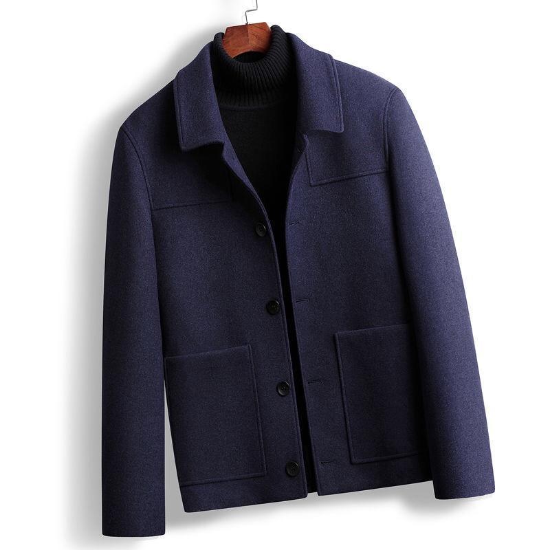 Jaquetas masculinas do inverno queda dos homens do inverno, marinho cinzento preto único breasted 4xl casaco de lã casaco de lã para homem