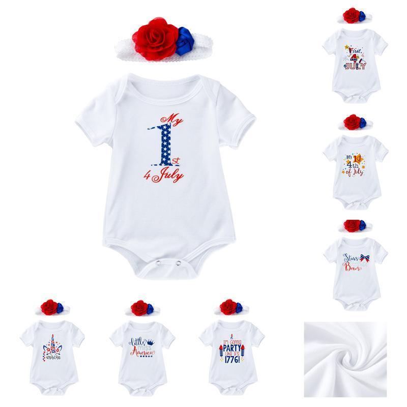 Hampers 2pcs-Independence Day | El 4 de julio bebé niño pequeño bebé niña niño vestido de manga corta Romper Set-Kids Ropa-Body-Body