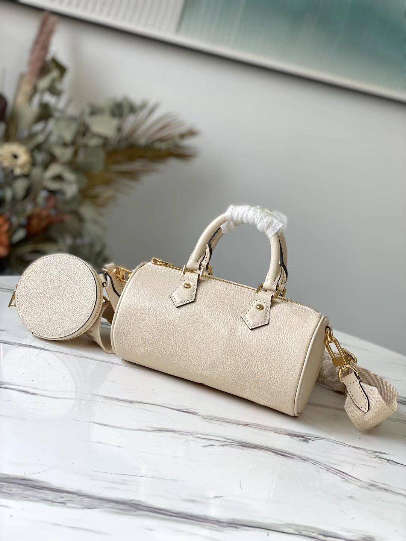 M45708 Papillon BB Ombro Crossbody Bags Embossed Greened Cowhide Leather Womens Destacable Strap Bolsa Redonda Moeda M45707