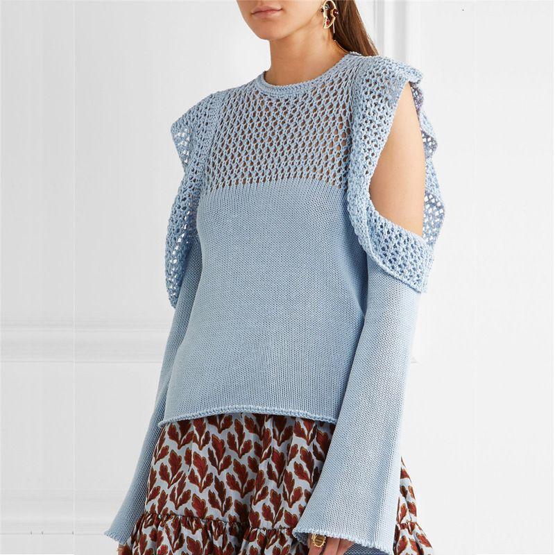 2019 Nuevo suéter de invierno Mangas Hollow Trompet y suéter sin tirantes