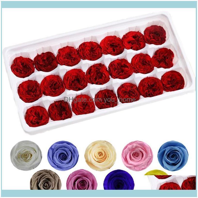 Decorative Wreaths Festive Party Supplies Home & Garden21Pcs/Box Preserved Flowers Natural Immortal Rose 2-3Cm Diy Romantic Wedding Birthday