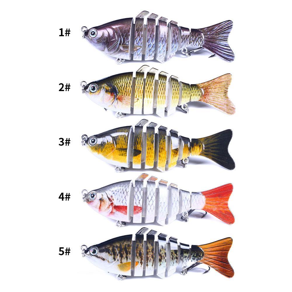 5pcs / lot multi-sezione pesci esche duro esche esche 5 colori misto 10 cm 15.4g 6 # gancio di pesci ganci Pesca attrezzatura da pesca accessori JM023