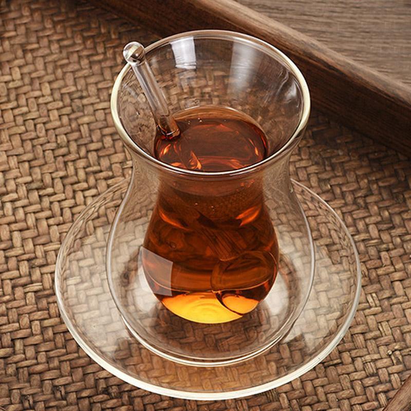 뷰티 커피 컵 접시 유리 숟가락 세트 절연 더블 벽 투명 검은 가정 차 150ml 와인 안경