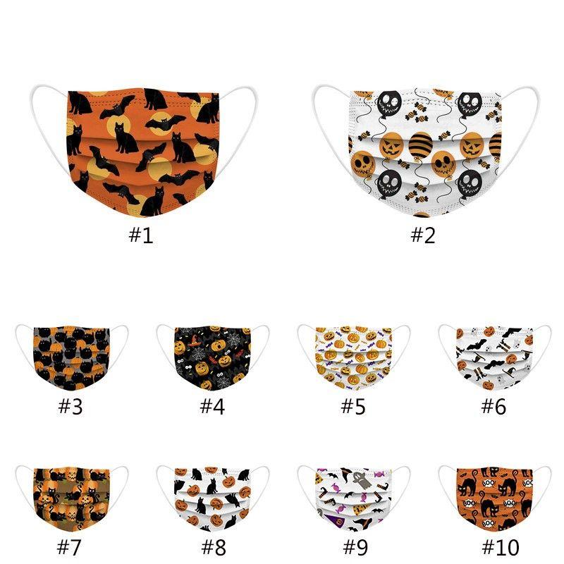 Moda Nuevas máscaras faciales desechables Halloween para adultos para adultos patrón de dibujos animados Prevención diaria Prevención de tela no tejida HH9-3307