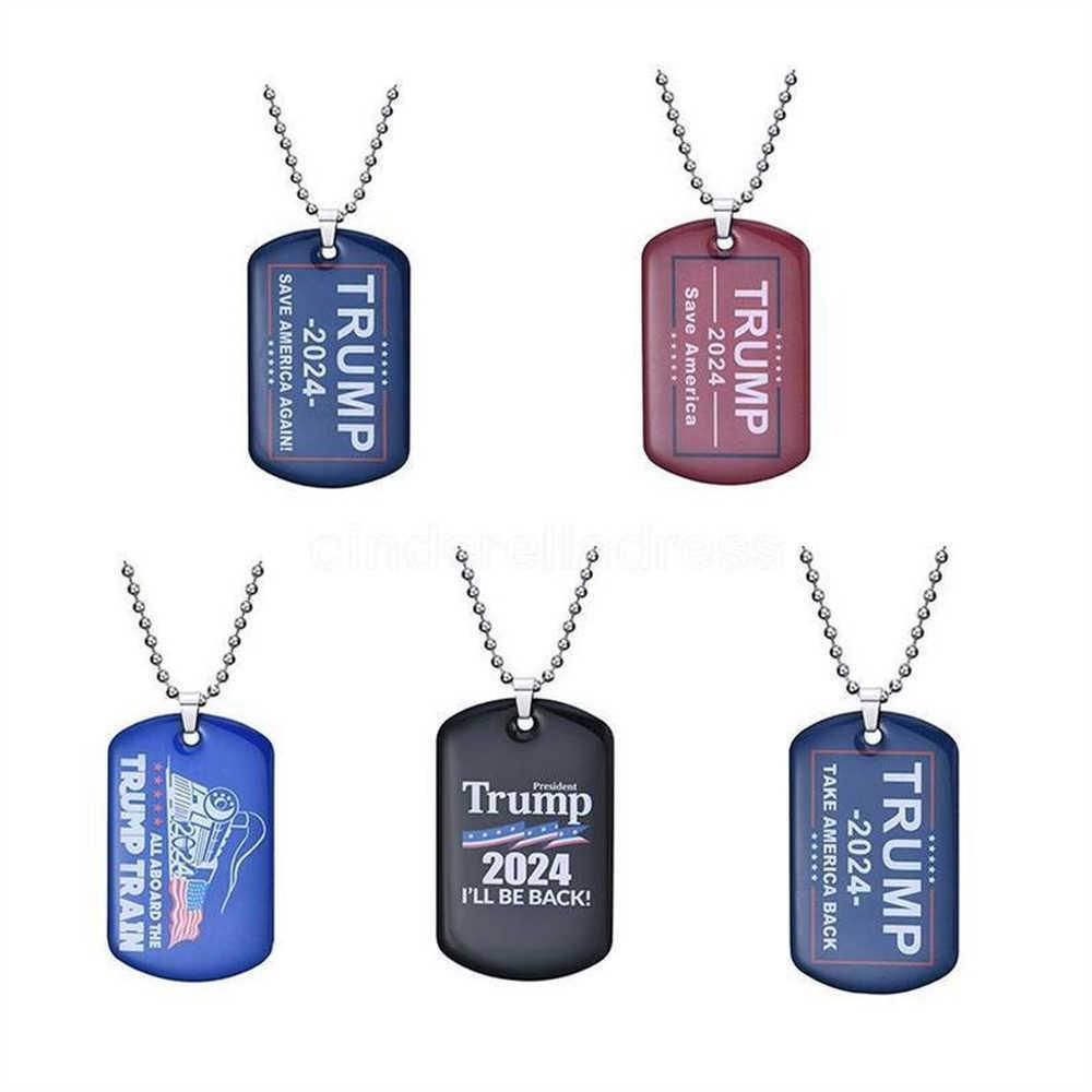 Fashion 2024 Trump Necklace Party Support US Presidential Election Flag Pendant Stainless Steel Tag Key Ring