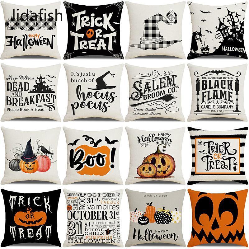 Kissen / dekorative Kissen Lidafish 45 * 45 Baumwolle Leinen Kissenbezug Halloween Theme Dekorative Abdeckungen Schlafzimmer Sofa Home Deco Kissen