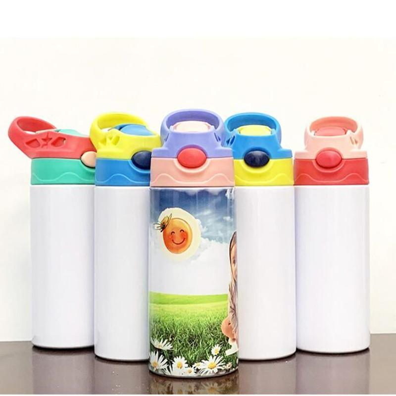 DIY 350ml Children Sippy Cup Mugs 12oz Sublimation Kids Water Bottle Tumbler Blank 316 Stainless Steel Double Wall Vacuum Insulated Mug Cups