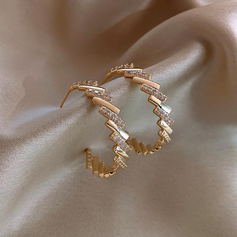 Корейский модный ювелирные изделия изысканные 14k настоящие золотые инкрустация циркон большие круглые серьги элегантные темперамент женщины простой обруч Hubgie