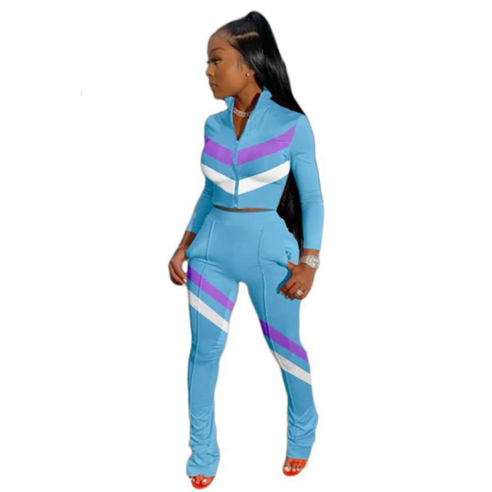 2 Pcs Sets Two Piece Set Women Zipper Stand Collar Crop Tops And Straight Pants Set Fashion Stripe Patchwork 2021 Autumn Winter