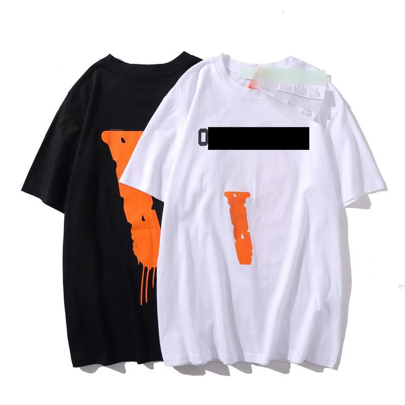 Cosigned três cores preto e laranja t-shirt designers roupas grandes v tees pólo moda manga curta lazer homens s vestuário mulheres vestidos homens tracksuit