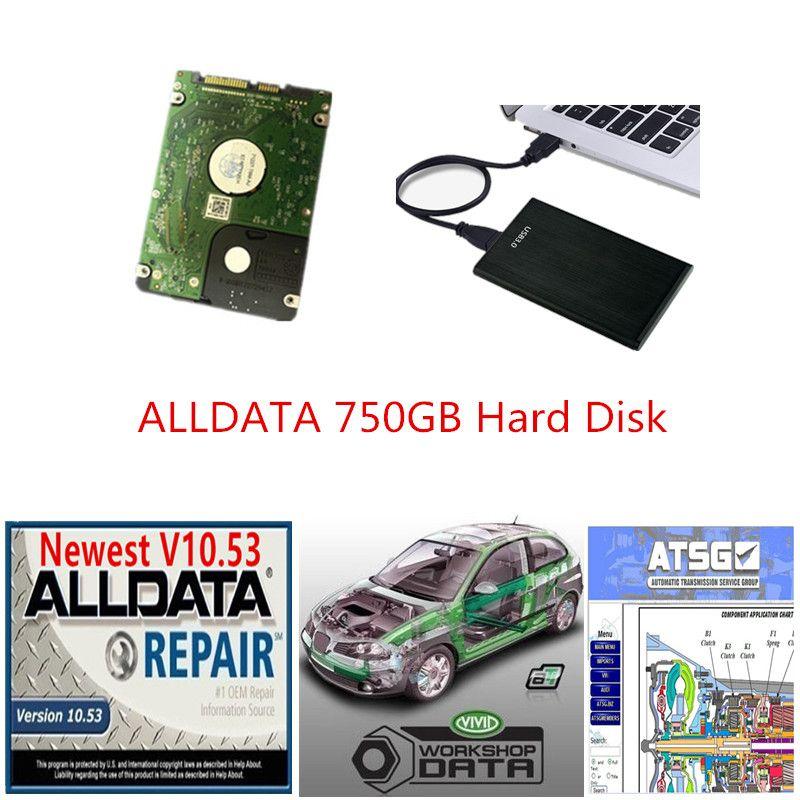 2021 RÉPARATION AUTO HOT ALLDATA Soft-Ware AllData 10.53 ATSG Vivid 10.2 en 750 Go HDD USB3.0 Haute Qualité Drive Disk Lecteur AllData Diagnostic Outil