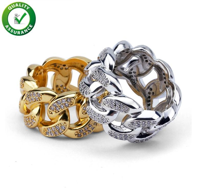 Hip Hop Hets Jewelry Anillos de la boda Compromiso de amor Conjuntos de anillos de lujo Diseñador de lujo Hombres Cuban Link Cadena Anillos Diamond Championship Pandora Style