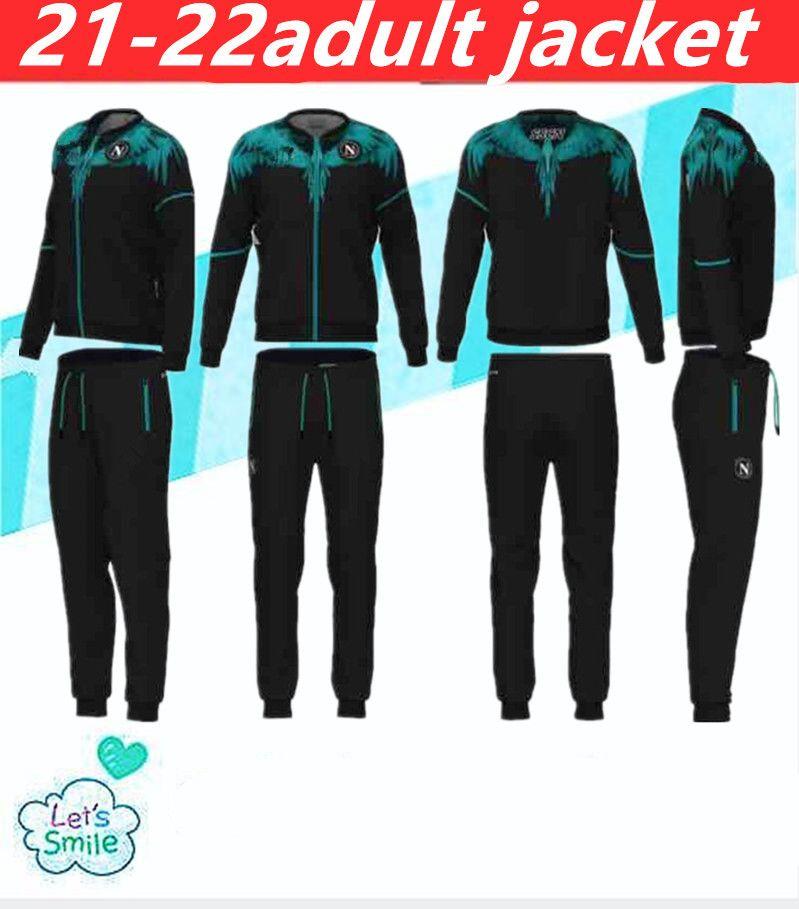 2021-2022 Napoli Eşofman Ceket Hoodie Futbol Jersey Zielinski 20/21 SSC Napoli Uzun Fermuar Ceket Seti Veste Takım