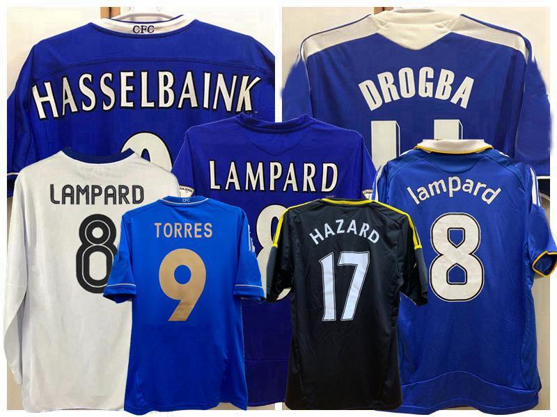 Retro Classic 2003 04 05 06 07 08 2011 12 13 camisas de futebol Lampard Hazard Torres Drogba Hughes Terry Ivanovic Makelele Camisa de Futebol