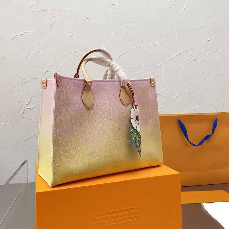쇼핑백 여성 핸드백 토트 백 모자이크 컬러 편지 인쇄 인테리어 지퍼 그레인 가죽 하드웨어 고품질 대용량
