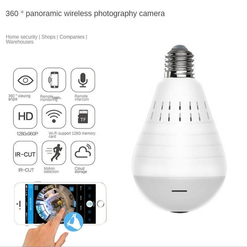 Mini Cameras 360 Degree 960P Wifi Panoramic Camera EC27 Bulb Fisheye Wireless Home Security Video Surveillance Night Version Two Way Audio