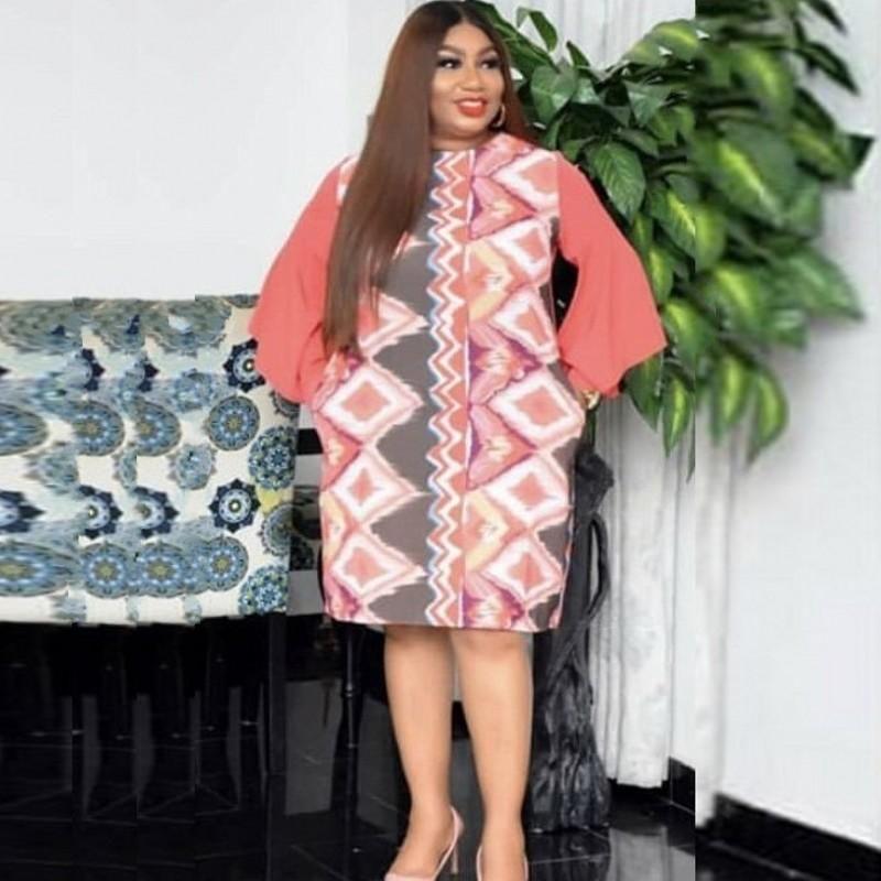 African Blouse Dresses For Women Full Sleeve Elegant Office Lady Dress 2021 Fashion Geometric Print Africa Clothing Vestidos Ethnic
