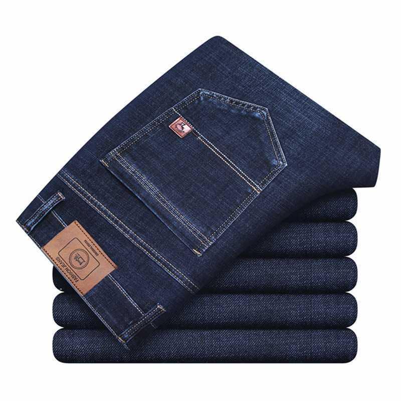 Hommes Mode Stretch Marque Slim Jeans Business Taille High Taille Lâche Pantalon Denim Denim Spring Mâle Classic Casual Pantalon 210531
