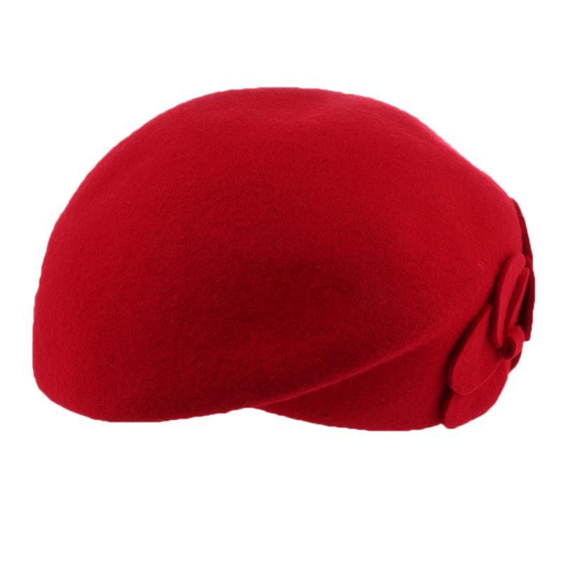 Women Winter French Wool Beret Warm Fashion Hats Flower Beanie Caps Shower