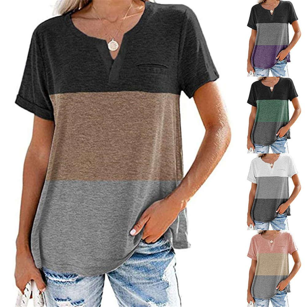 Short Sleeve T-Shirt summer new women's V-neck three color matching pocket Casual 2021 spring and
