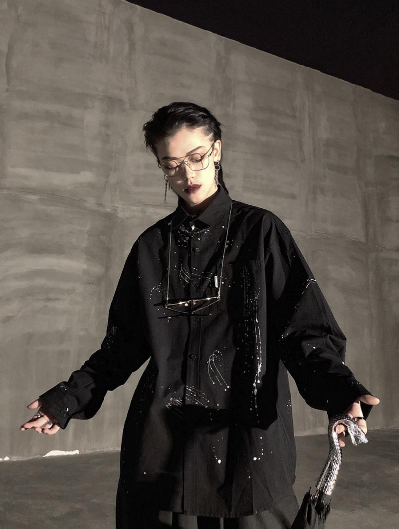 커플 캐주얼 느슨한 셔츠 여름 섹시한 럭셔리 셔츠 남성 패션 블랙 슬림 맞는 사회 동료 파라 홈 브레 의류 EG50SH 남자의