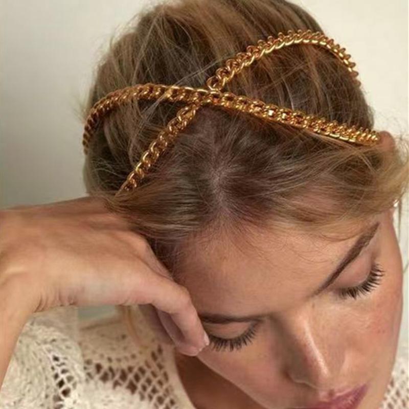 Saç Klipler Barrettes Ayarlanabilir Metal Altın Zincir Çapraz Hoop Kafa Kafa Kız Alaşım Için Hollow Hairband Şapkalar Aksesuarları