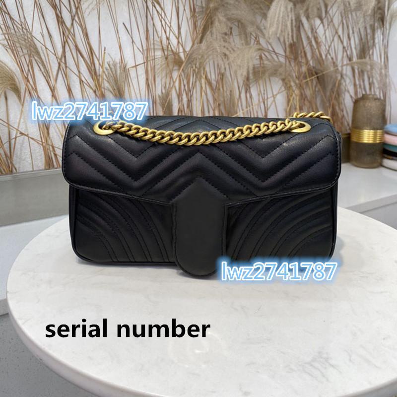 Seriennummer innen! Hergestellt in echter Kuhleder Frau Tasche Handtasche Hohe Qualität Schultertasche Cluth-Geldbörse