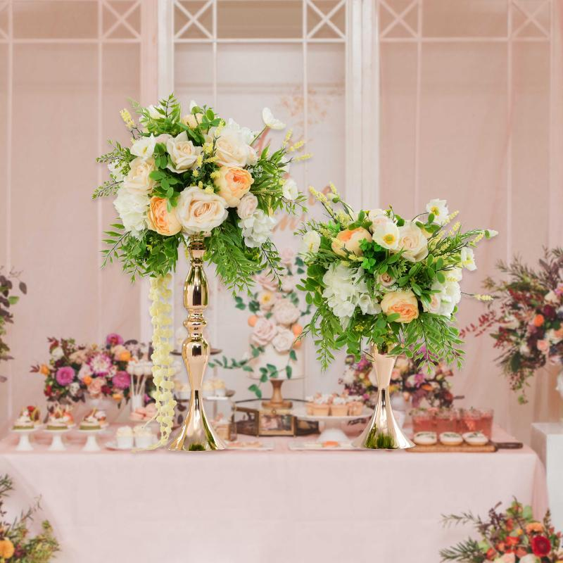 Party Decoration Gold Plated Metal Flower Stands Rack Vase With For Table Centerpiece Event Road Lead Wedding Mall Opened Props