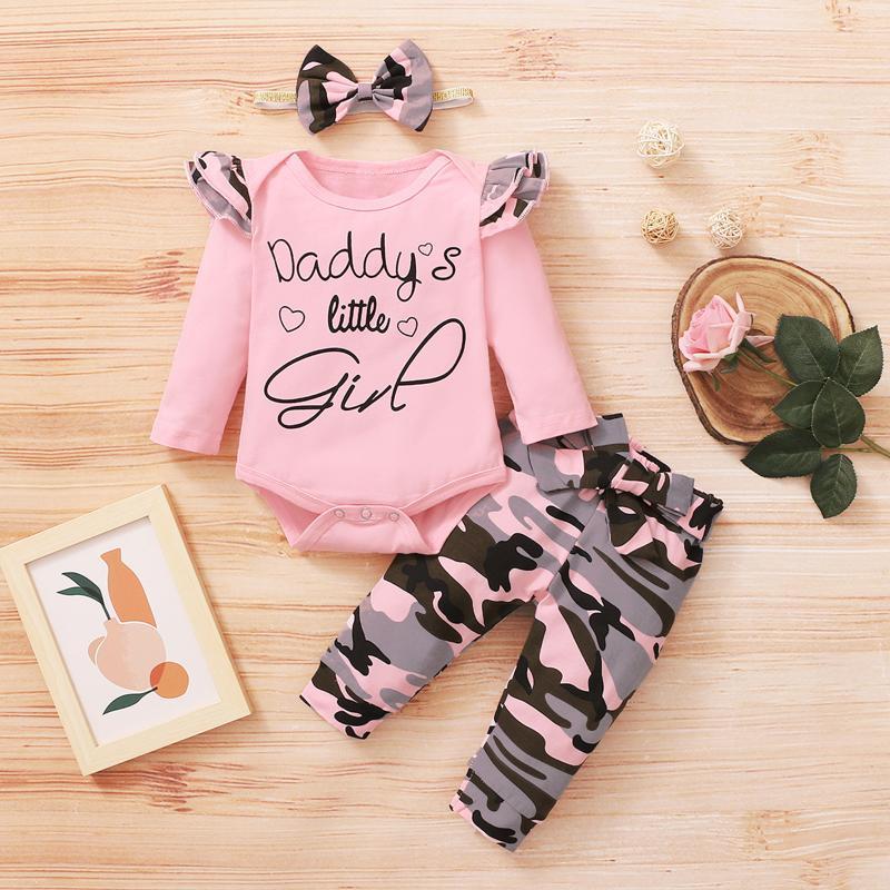 Born Baby Girls Outfits Sets Sind Säugling Valentine Print Romper Body + Camouflage Hosen Set Mädchen Kleidung