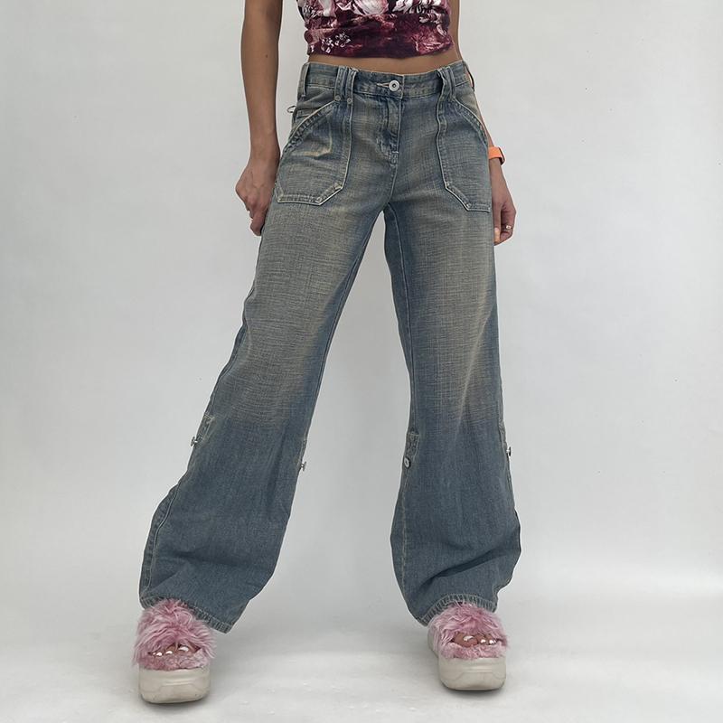 Women's Jeans Retro Grunge Denim Women Fairycore Chic High Waist Trousers Vintage Casual 90s Cute Baggy Cargo Pants