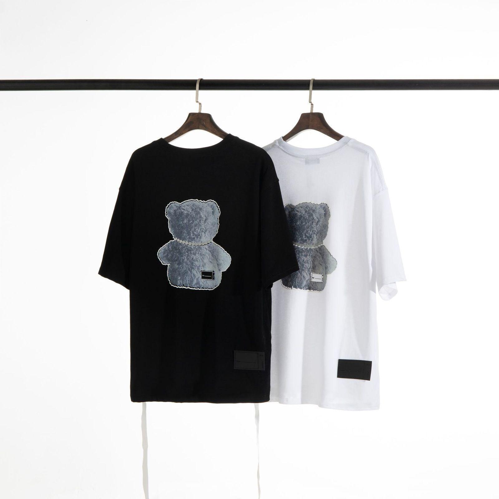 2021 Summer We11 Hecho de impresión de dibujos animados Simple High Street Ocio Pereer Cuello Camiseta Juventud Juvenil