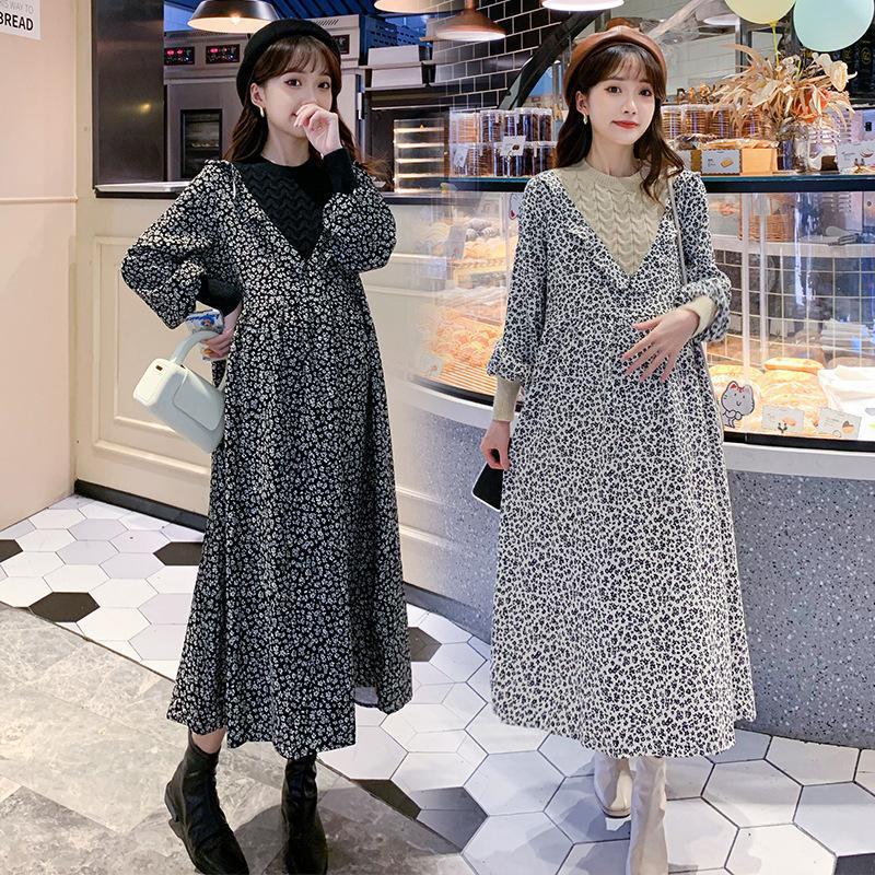Maternity Dresses 2021 Autumn Dress Women's Floral Loose Plus Size Clothing Pregnancy Maxi For Women