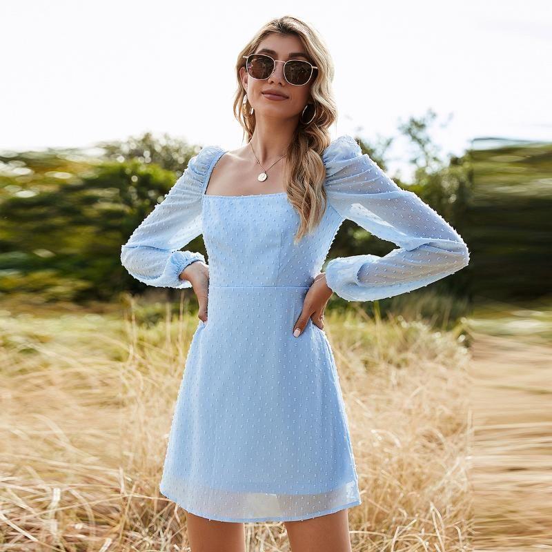 Snow Pinnacle 2021Spring A-Line Slash Hee Blue Solid Appliques вскользь женские платья платья