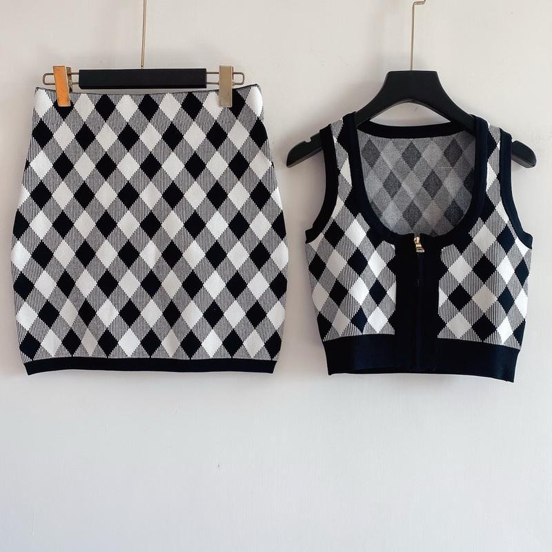 Frauen Pullover Anzug Frau Trainingsanzug Strickjacke Set Zwei Teile Sets Frau Sportswear Casual Outfit Hohe Qualität Designn Strickpullover Set-2