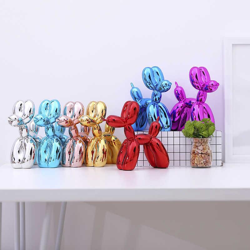 الكلاب البالون الحديثة منحوتات المنزلية الزينة الفن الراتنج الحرفية النحت الفن لتمثال الديكور المنزل T200330