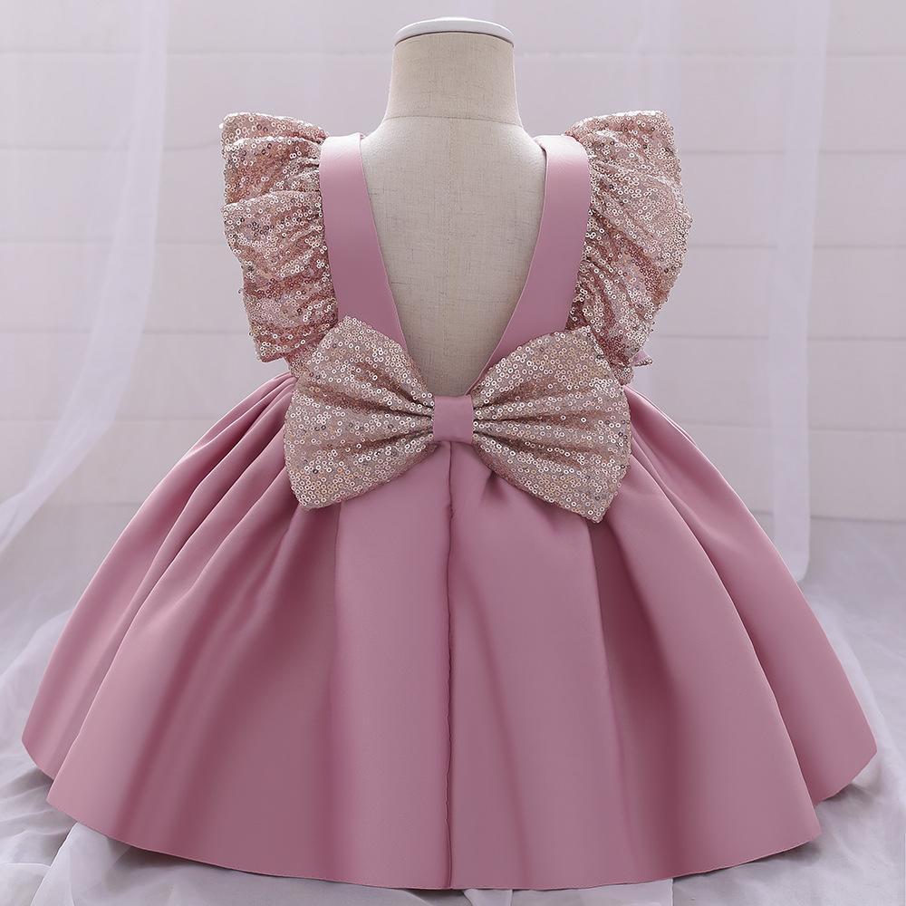 아이들의 옷 여자 스팽글 프릴 슬리브 활 드레스 어린이 생일 파티 웨딩 공주 드레스 패션 여름 부티크 아기 의류 z2965
