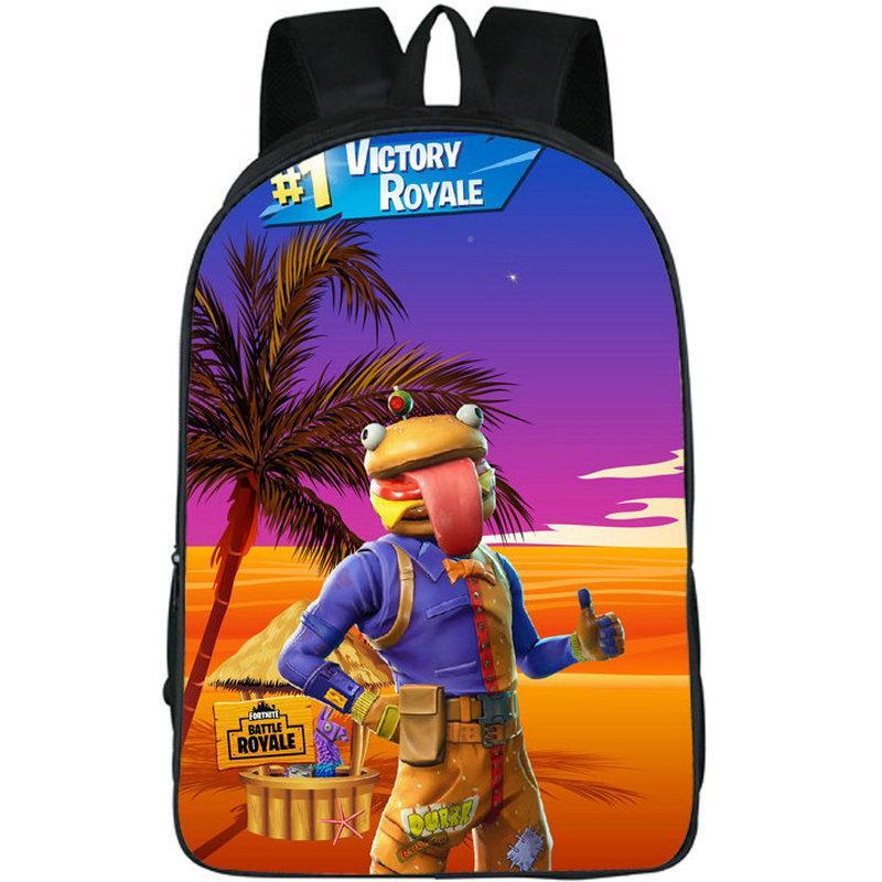 Beef Boss حقيبة مضحك همبرغر رئيس Daypack Battle Royale Game Schoolbag الترفيه طباعة Rucksack الرياضة حقيبة مدرسية في الهواء الطلق