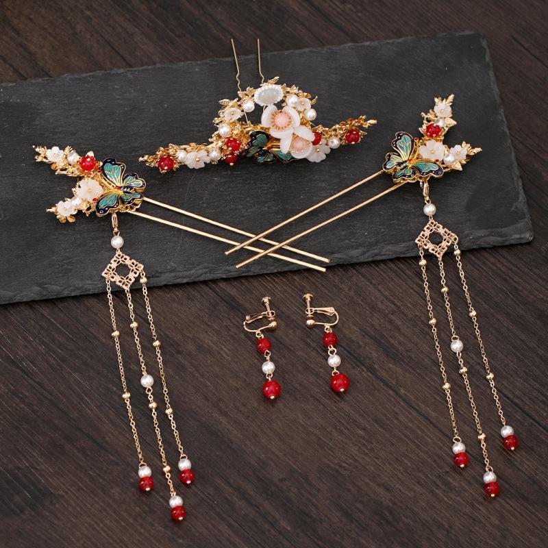 Tocado para Han Ropa China para mujer Tassel Antiguo Buyao Golden Mariposa Horquilla Bridal Xiuhe Dress Crystal Hair Peine Pein Accesorio para el cabello