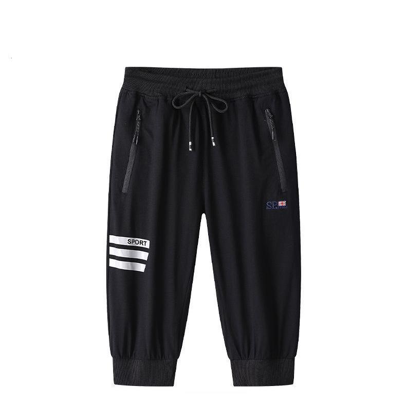 Pantaloni medio da uomo estate Casual Casual Cotton Pant Pant Pant Pant 3 Bar Ricamo Capris Street Style Style Style Elastico Pantaloni