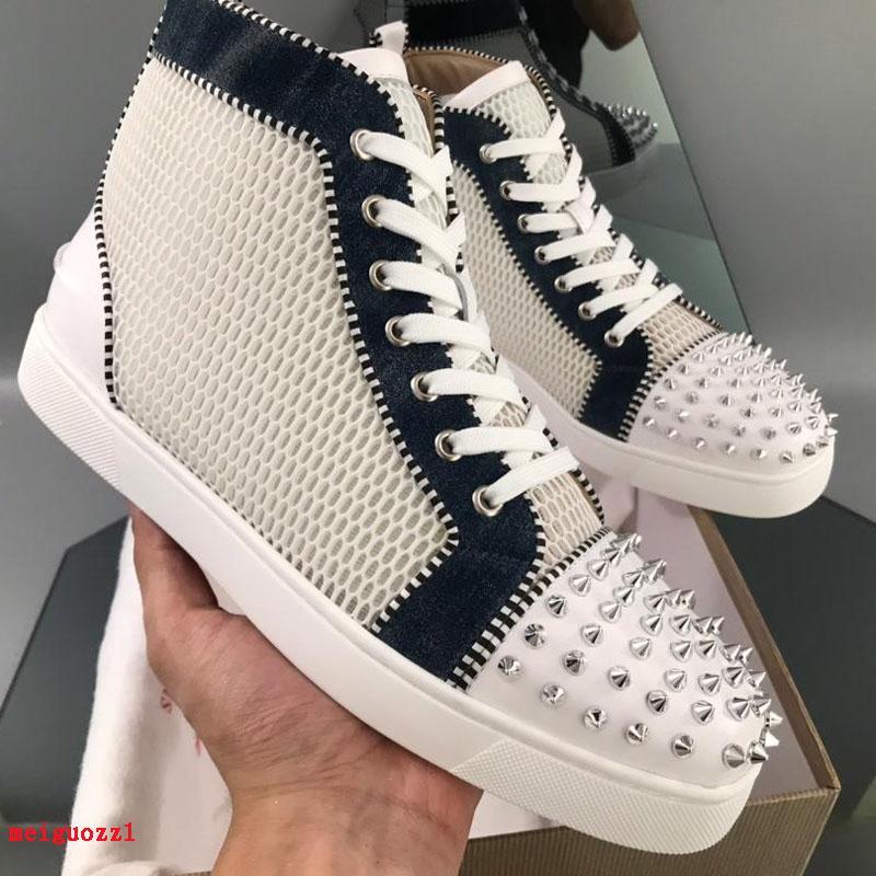 Brand Spikes High Top Red Bottom Sneakers Uomo Scarpe casual Designer Genuine Pelle Pelle Delle Donne Delle Donne Partito Abito da sposa Maschio Maschio Rivetti Scarpe