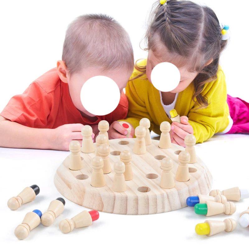 الاطفال الذاكرة الخشبية مباراة عصا الشطرنج المرح اللون لعبة الألغاز اللعب التعليمية لعبة الإدراكية القدرة على التعلم للأطفال