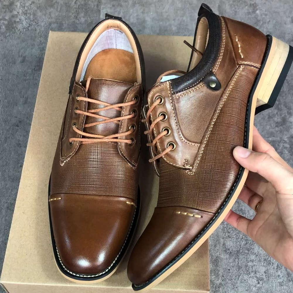 새로운 도착 망 드레스 신발 모자 발가락 사업 신발 갈색 레이스 업 브로우스 신발 정품 가죽 웨딩 순회 신발 US7-13