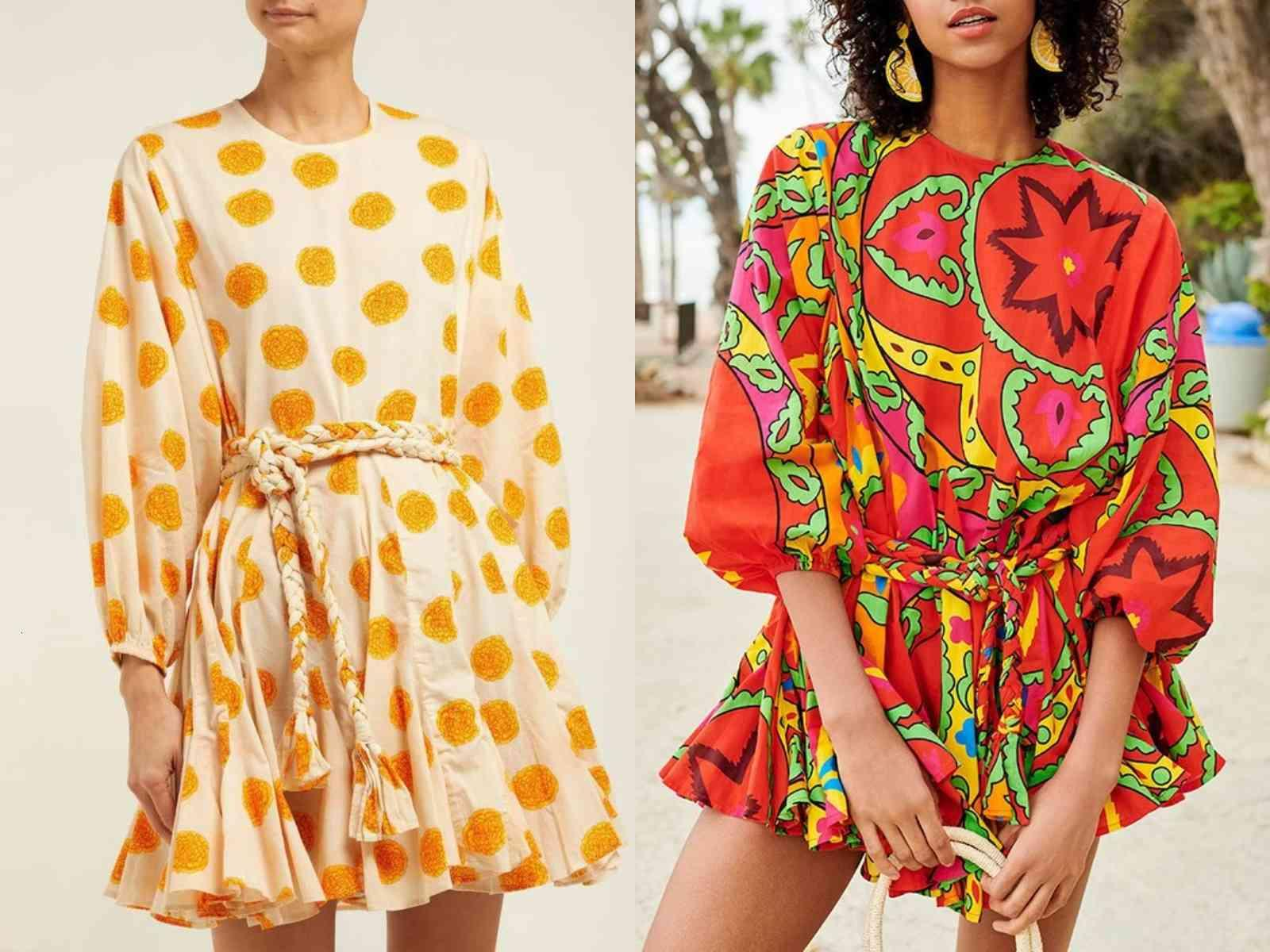 Street Style Dresses Wholesale high quality affordable prices Australian holiday printed lantern sleeve lace-up pleated loose