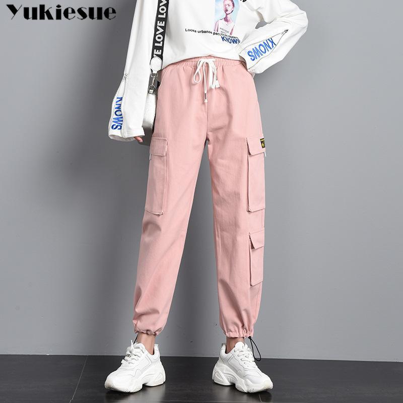 Harajuku Streetwear Frauen Casual Harem Hosen Solide Rosa Schwarze Hose Coole Mode Hip Hop Lange Hose Capris Fracht Hosen Frau 210412