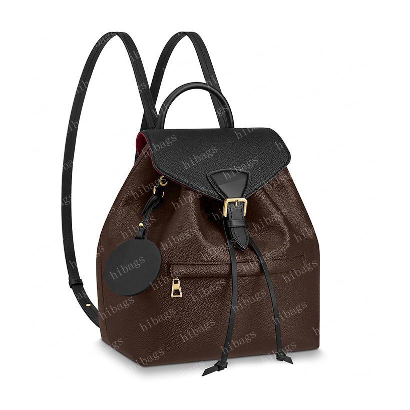 2021 Rucksack Mini Rucksäcke Frauen Handtasche Shouler Bag Kreuz Körper Geldbörse Pochette Braunes Leder geprägt schwarz 45205 27.5x33x14cm 17x20x10.5cm # Mob-04