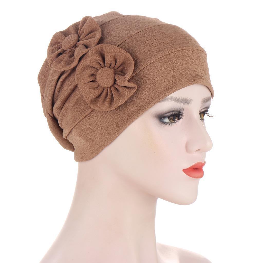 الربيع الصيف جانبي اثنين من قبعة قبعة الأزهار مسلم تمتد الحجاب الصلبة اللون العمامة قبعة تساقط الشعر قبعة أغطية الرأس