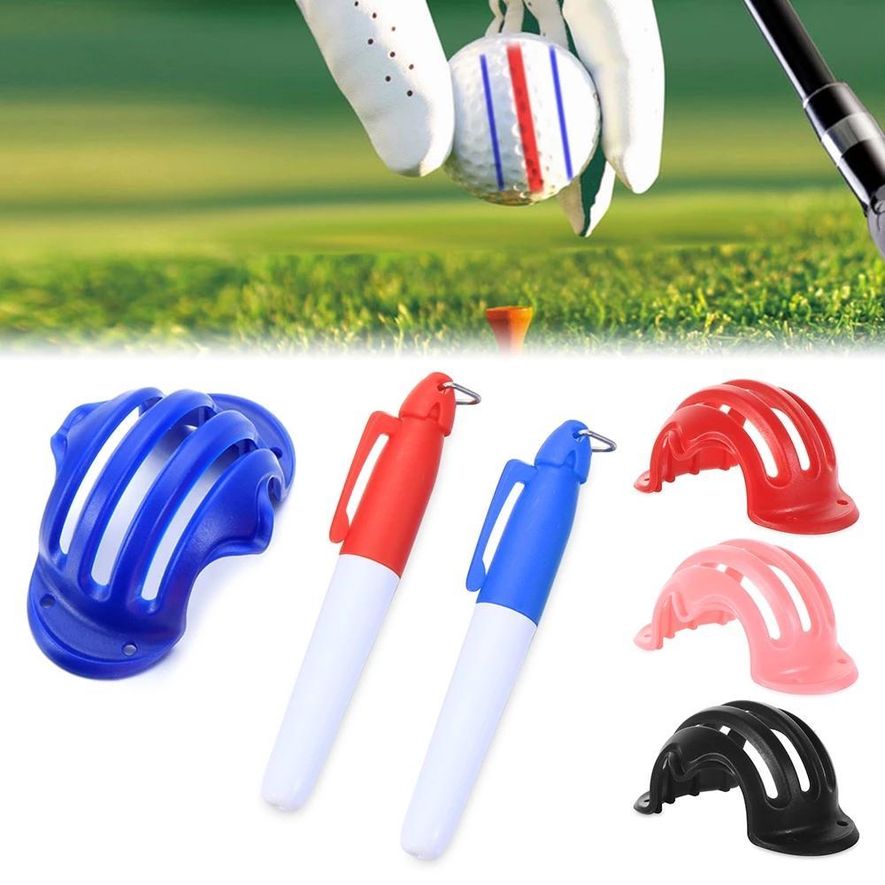 1 set palla da golf triplo track 3 line-marker cromato stencil + 2pcs penna penna da golf-mettering posizionamento ausiliario all'aperto strumento da golf-sport