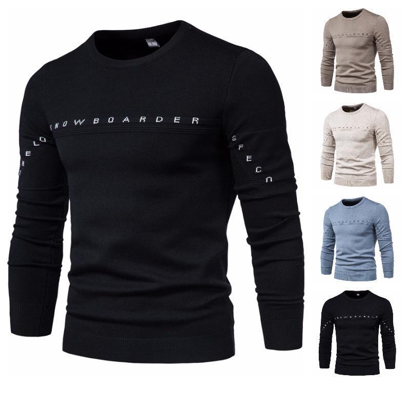 2021 Slim Fit Color Sólido Carta de los hombres Sweater Suéter camiseta Base redonda Cuello Abrigo