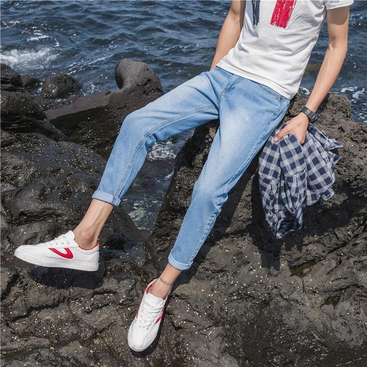 Blue Jeans Sommer Koreanische Stretch Slim Fit Kleine Fußstudent 9-Punkt-8-Punkt-Hosen Herren