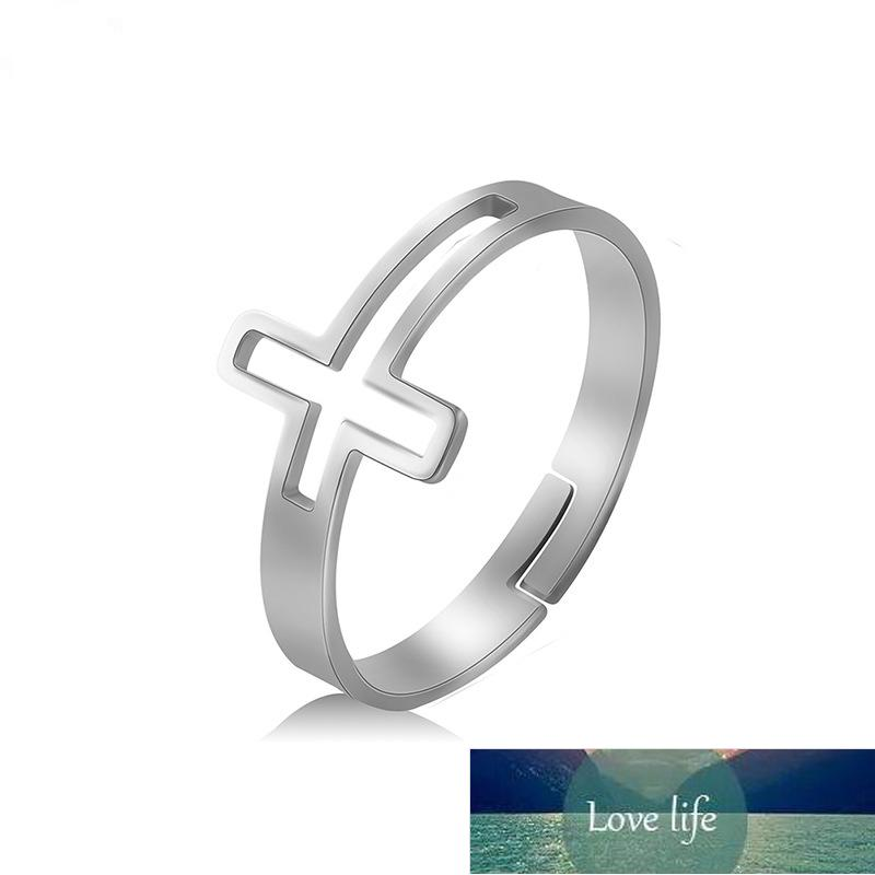 Stainless Steel Couple Rings Women Men Hollow Cross Punk Finger Ring Engagement Wedding Party Birthday Personality Jewelry Gift Factory price expert design